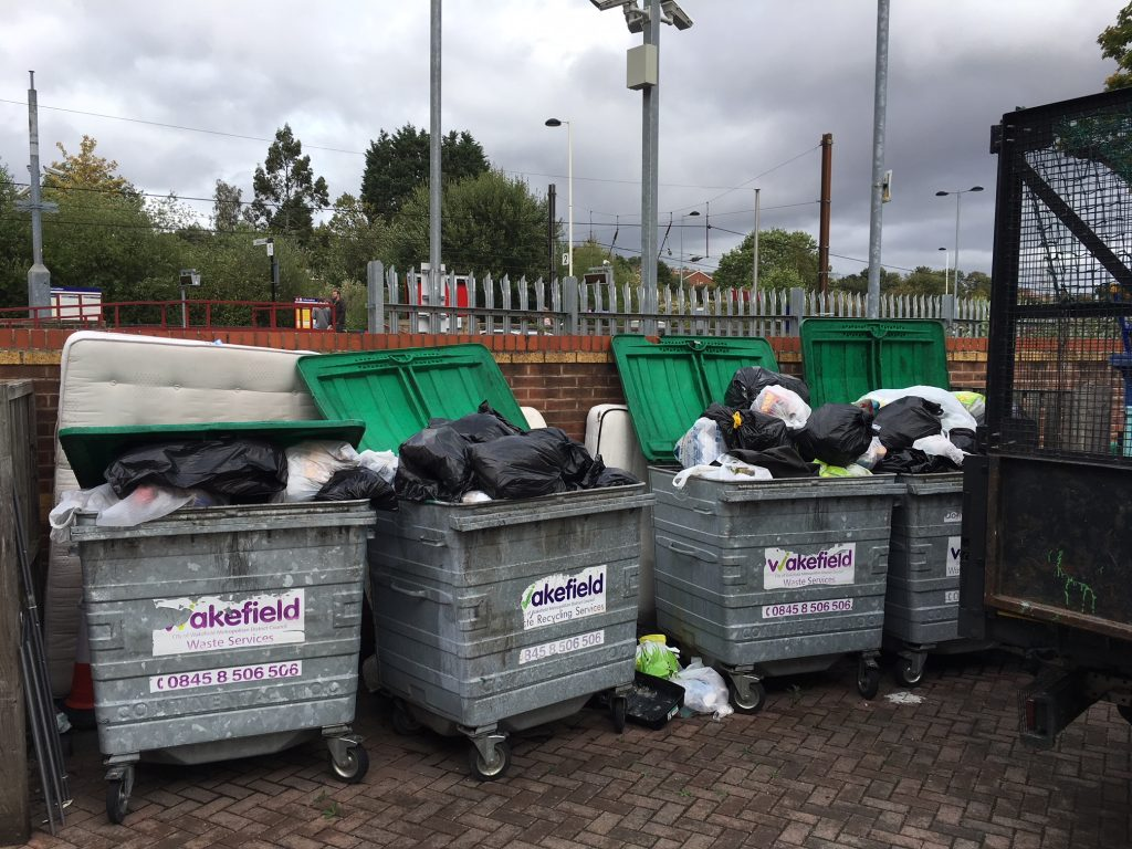 A bin store area in South Elmsall