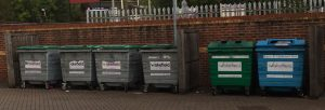 A bin store area managed by Yes waste