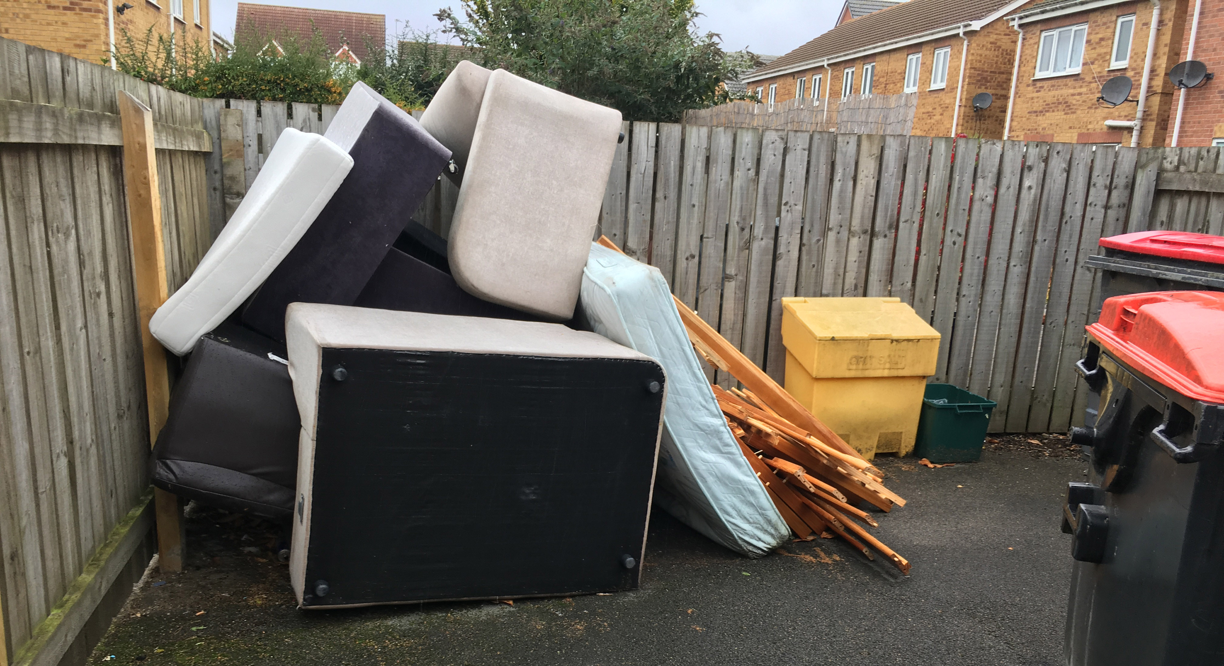 Bulky waste waiting for collection in Leeds