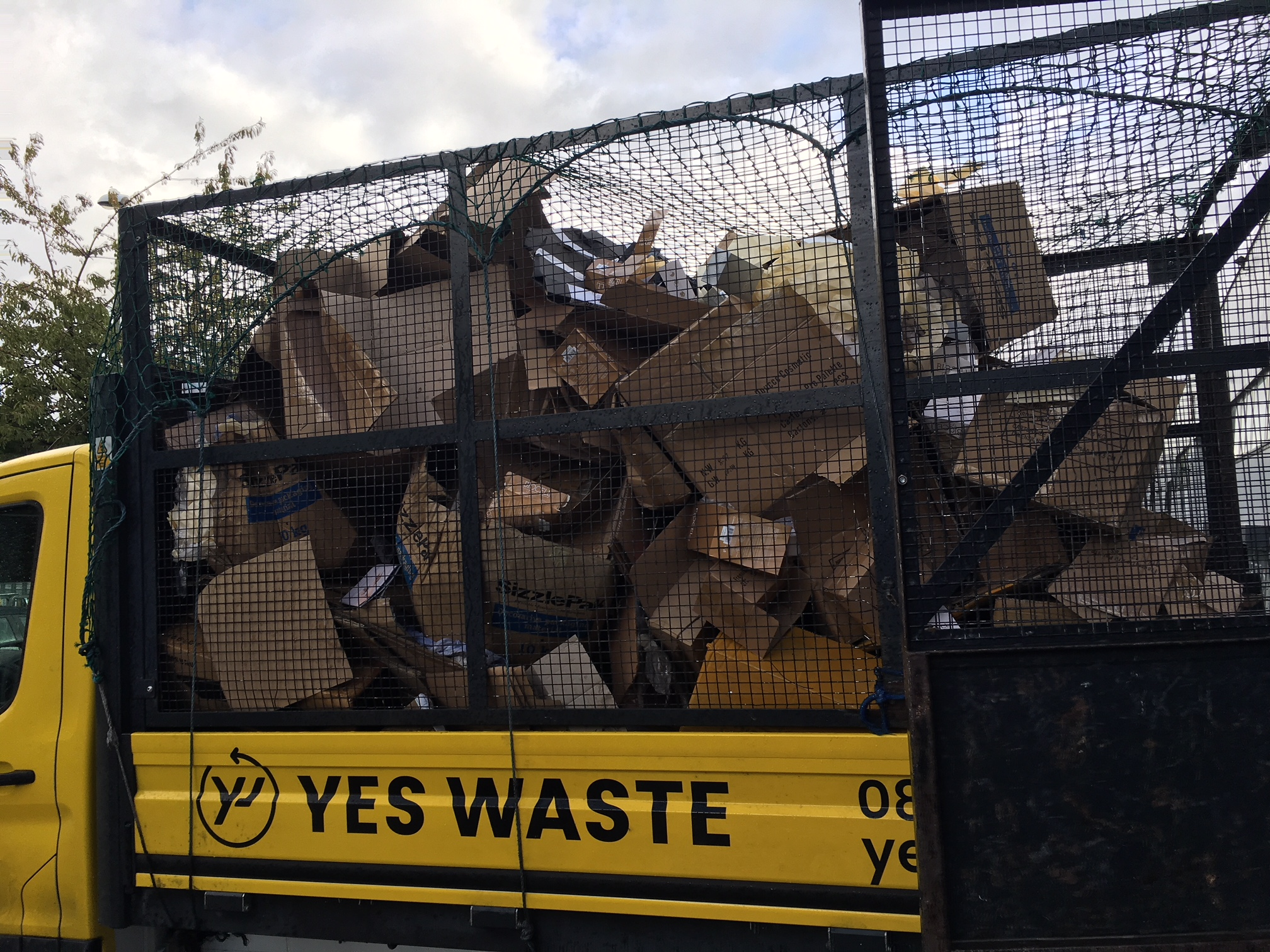 Cardboard on a Yes Waste van