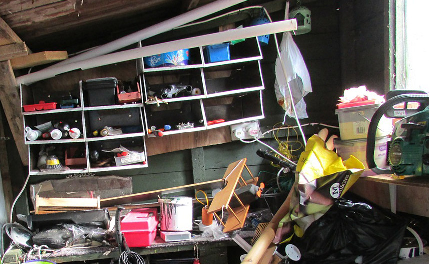 An attic full of junk awaiting a loft clearance