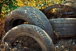 Tyres awaiting recycling