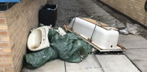 Discarded Bathroom Suite Ready For Collection By Yes Waste in Kirklees