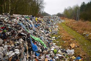 Flytipping in a country lane