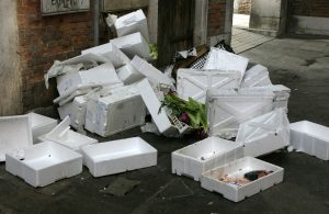 Polystyrene recycling waste in West Yorkshire