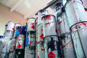 an image of buckets filled with paint showing yeswaste ability to provide Paint Disposal Service